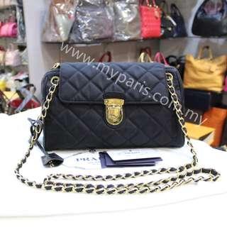 Prada BR 4965 Nero Quilted Tessuto Impuntu Nylon Convertible Chain Bag