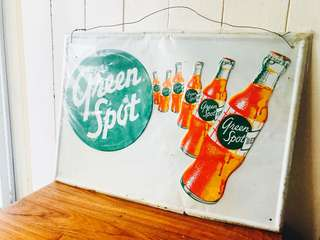 Authentic Vintage Green Spot Sign