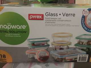 Pyrex 18pcs glass snapware