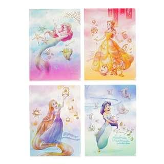 JAPAN DISNEYSTORE, JAPAN IMPORTED: File Set Series: 4 PC Disney Princess Watercolor Series File set