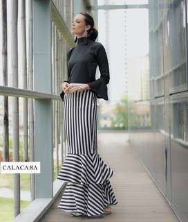 CALACARA Two Tiered Striped Skirt