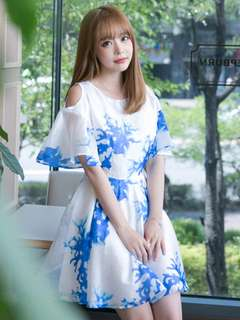 Casual: Charming Summer Off Shoulder Blue Flowers Organza Dress (S / M / L / XL) - OA/KKC072260