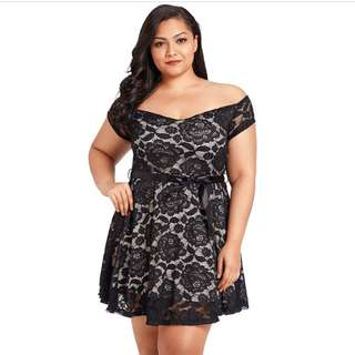 PRE-ORDER - Plus Size Black Floral Lace Sweetheart Sexy Off Shoulder A-line Skater Dolly Ribbon Waist Dress