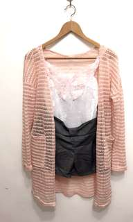 🚚 三件組:全新內搭蝴蝶小可愛+粉色針織珠光長版外套+鐵灰色蝴蝶結短褲。限定