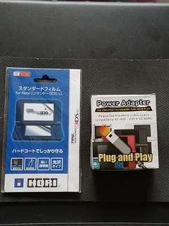 Nintendo 3DS Screen Protector and Wall Plug