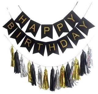Happy Birthday Banner with Tassel
