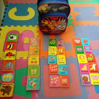 Children's booklets and trolley bag
