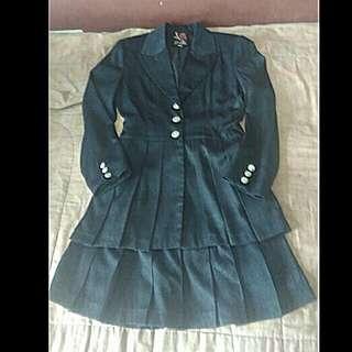 Blazer dress hitam kilap