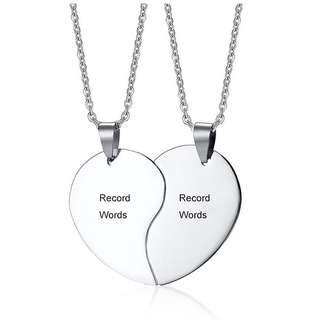 [SALES]🔲PERSONALIZED|CUSTOMIZED ENGRAVING HEART COUPLE STAINLESS STEEL NECKLACE CUSTOMIZED JEWELRY🔲