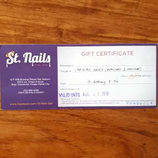 St. Nails Gift Certificate