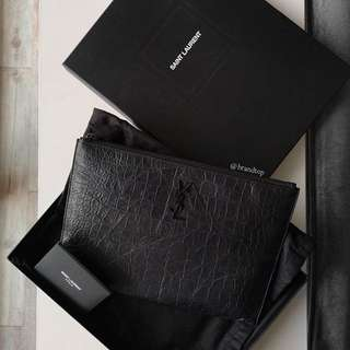 Authentic Ysl Croc Embossed Zipped Tablet Holder