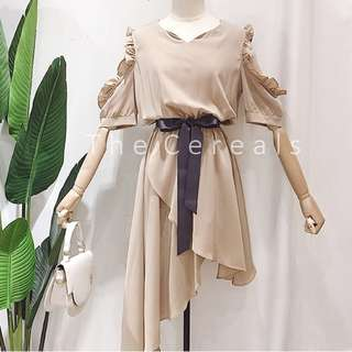 TC2233 Korea Irregular Designer Dress With Sash (Nude,Pink,Black)