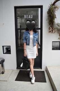 H&M white mini dress low back
