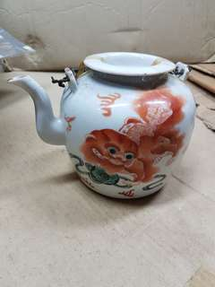 Vintage Porcelain Vhinese Teapot Fu Dog