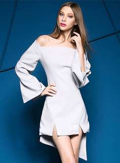 Formal: Silver Modern Sexy Boat Neck Split Flare Sleeve Asymmetric Dress (S / M / L) - OA/YZC070623
