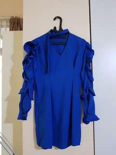 Blue ruffled sleeve dress