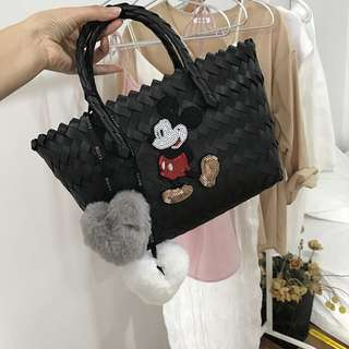 Sequinned Mickey Mouse Woven Straw Bag with Bag Charm