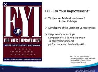 For Your Improvement 4th Edition by Michael Lombardo