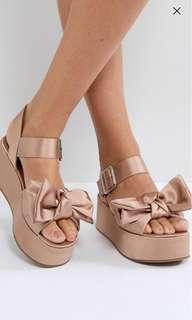 ASOS Hester Flatform Sandals in Nude Pink