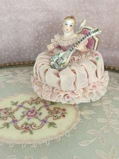 Vintage Dresden lace porcelain figurine playing the mandolin