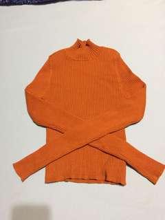 H&M 小立領素面羅紋針織衫