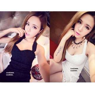 PRE-ORDER - Plus/Small Size Floral Lace Sweetheart Halter Dolly Ribbon Tie Bodycon Clubbing Party Dress