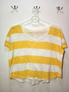 Yellow Stripes Cropped Top