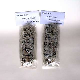 White Sacred Sage Smudge Wands for smudging PURIFICATION - Two --00138