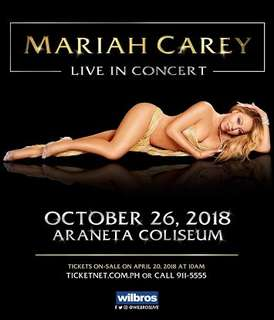 Mariah Carey Live in Manila 2018 (2 GenAd tickets)