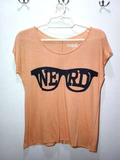 Orange Top with Nerd Glasses Print