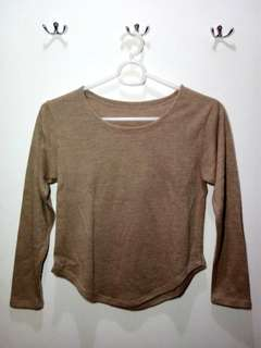 Brown Long sleeves Cropped top
