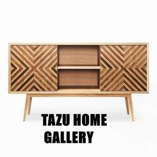 北歐簡約主義木製型格趙門復古餐邊收納櫃. 呎吋:130x40x75cm