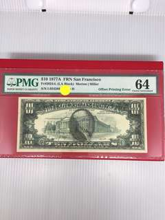 U S 10 dollars errors note PMG 64 !Good investment.