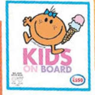 Esso Mr Men Little Miss Mr. Man Mr. Men Gas Station Sticker badge Window Windshield Wind shied Screen Stickers Little Ms Miss Fun Kids on board kid