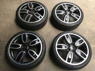 Mini Cooper s John works 2017 限量款式原廠鋁圈跟輪胎 4個