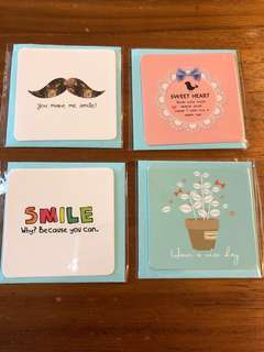 BN greeting mini cards x4pcs you make me smile