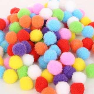 Pom Pom Pompom Fuzzy Balls Mixed Colour