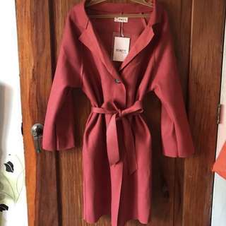 Maroon Coat w/ belt - FREE SF