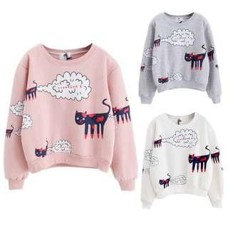 [ READY STOCK ] WOMEN LOOSE CARTOON CASUAL CAT SWEATSHIRT