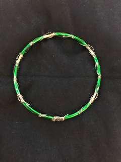 Green and silver vine bangle