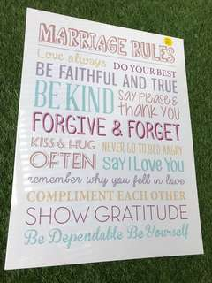 Marriage Rules Quote Frame