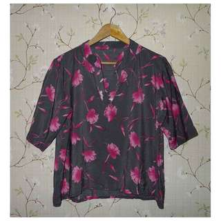 WOMEN'S PRINTED TOP (GRAY/PINK, SIZE XL)