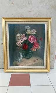 Vintage 'Lee Man Fong' Oil Painting 1950's...L81xH92cm