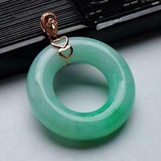 🍍18K Gold - Grade A 水润 Apple Green Coin/平安扣  Jadeite Jade Pendant🍍