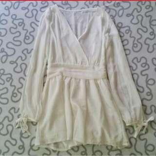White slit sleeves romper