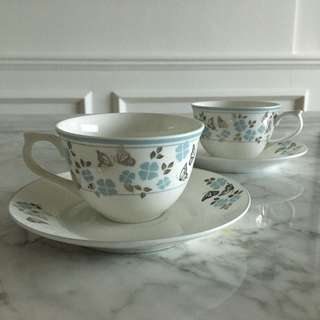 Butterfly Teacup With Saucer (2 sets)
