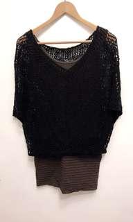 🚚 組合1+1: 貼身連身裙+黑色針織飛鼠罩衫。