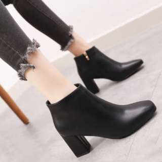 Chunky Black Leather Heeled Boots