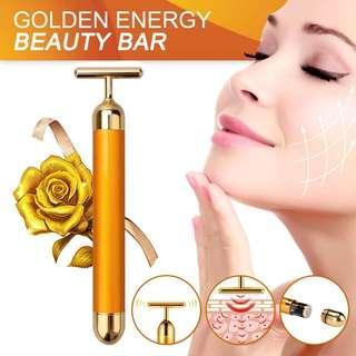 Beauty Bar 24k Round Golden Pulse Facial Massager