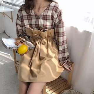 預購 IRIS 套裝 • 一起買卡省 • 格子襯衫配花苞裙